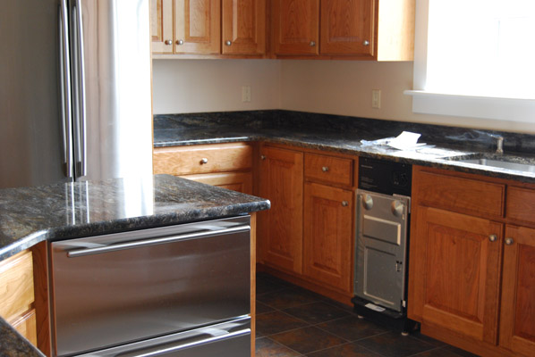 Custom cherry kitchen handmade by foster 39 s cabinet shop for Shop kitchen cabinets
